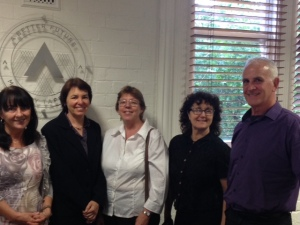Carmel Ellis-Gulli, Rosalind Carter, Anne Bowden, Bronwyn Thompson, Kevin Heys at Ultimo TAFE for the webinar.